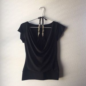 Black blouse with pretty halter fits Sm